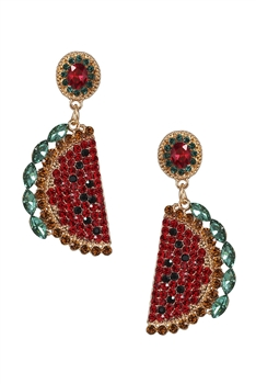 Watermelon Rhinestone Earrings E3079
