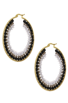 Crystal Hoop Earrings E3080 - Black