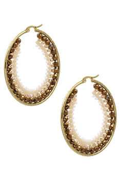 Crystal Hoop Earrings E3080 - Gold
