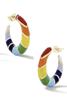 Rainbow Alloy Hoop Earrings E3093