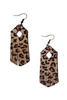 Leopard Printed Leather Tassel Earrings E3111