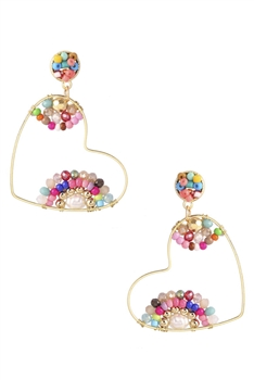 Heart Shaped Beads Earrings E3116 - Multi