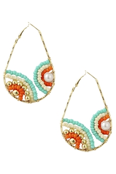 Teardrop Beads Hoop Earrings E3118 - Green