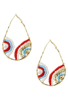 Teardrop Beads Hoop Earrings E3118 - Red