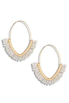 Tassel Hoop Earrings E3125 - White