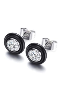 Stainless Steel Stud Earrings E3150 - Black