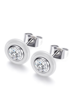 Stainless Steel Stud Earrings E3150 - Silver