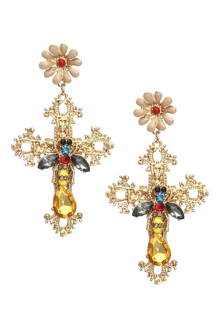 Cross Bee Cross Earrings E3193