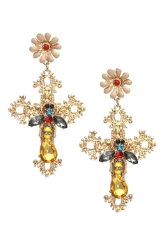 Cross Bee Cross Earrings E3193 - Gold
