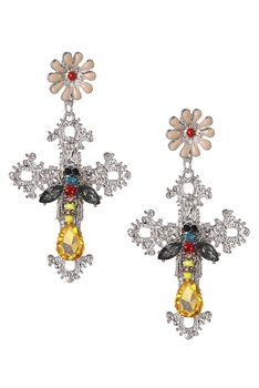 Cross Bee Cross Earrings E3193 - Silver