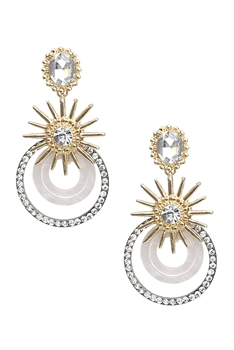 Rhinestone Circle Earrings E3194 - White