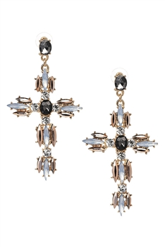Rhinestone Cross Earrings E3199 - Gold