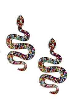 Seed Beads Snake Earrings E3212 - Multi