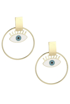 Against Evil Eye Circle Drop Earrings E3226