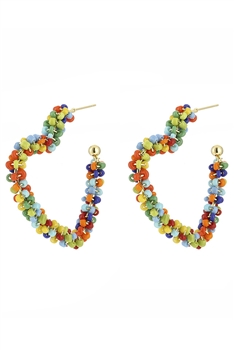 Beaded Heart Hoop Earrings E3228