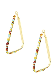 Beadded Triangle Hoop Earrings E3229