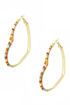 Beadded Heart Hoop Earrings E3230