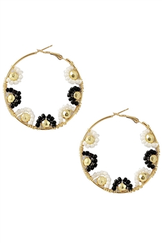 Seed Beads Hollow Drop Earrings E3233 - Black