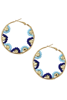 Seed Beads Hollow Drop Earrings E3233 - Blue