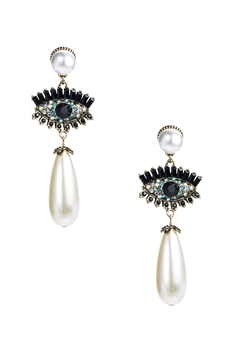 Pearl Against Evil Eye Drop Earrings E3237 - White