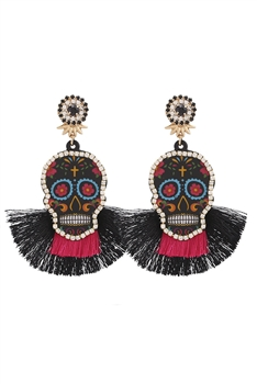 Crystal Skull Tassel Earrings E3247 - Black