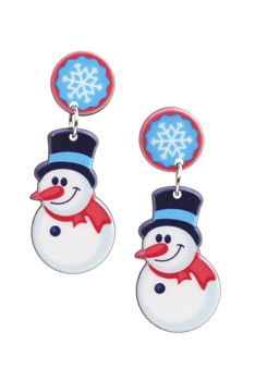 Snowman Acrylic Earrings E3258