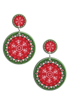 Snowflower Cricle Acrylic Earrings E3259