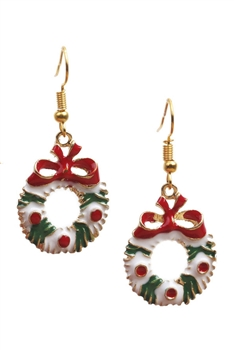 Christmas Wreath Alloy Earrings E3263