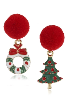 Asymmetry Christmas Tree Alloy Earrings E3265