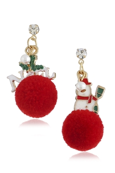 Snowman Pom Pom Alloy Earrings E3266