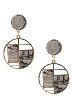 Against Evil Eye Circle Drop Earrings E3269 - Grey