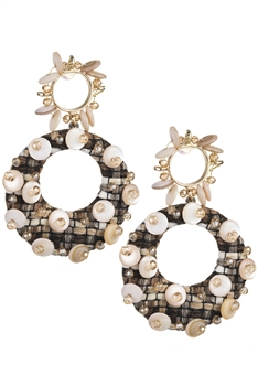 Hollow Circle Shell Dangle Earrings E3271
