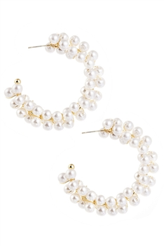 Pearl Hoop Earrings E3273