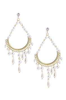 Hollow Teardrop Pearl Tassel Earrings E3276