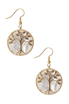 Tree of Life Mother of Pearl Earrings E3297 - Gold