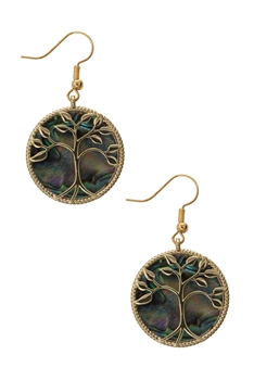 Tree of Life Mother of Pearl Earrings E3298 - Gold
