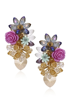 Crystal Floral Earrings E3316