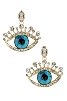 Rhinestone Evil Eye Earrings E3342