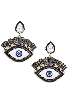 Rhinestone Against Evil Eyes Earrings E3361 - White
