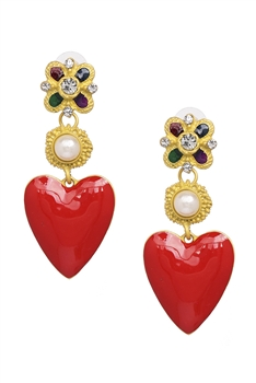 Alloy Heart Dangle Earrings E3363
