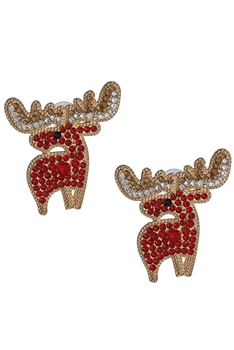 Elk Rhinestone Earrings E3368 - Red