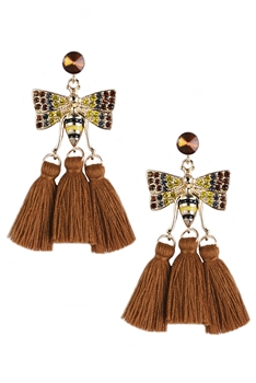 Rhinestone Bee Tassel Earrings E3370 - Brown