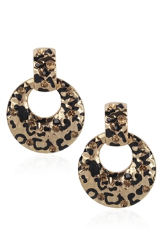Leopard Round Alloy Earrings E3383