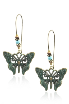 Hollow Butterfly Alloy Earrings E3390