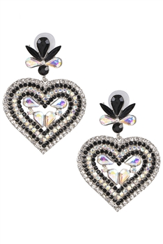 Heart Shaped Rhinestone Earrings E3396 - Black