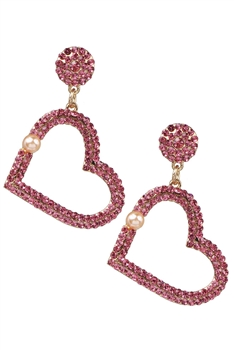 Hollow Heart Rhinestone Earrings E3397 - Pink