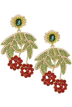 Rhinestone Cherry Earrings E3402