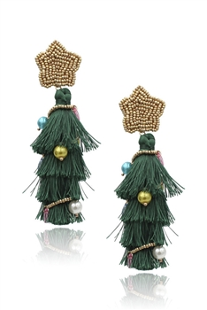 Christmas Tree Tassel Earrings E3405