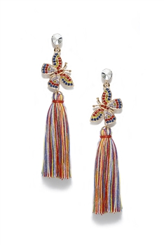 Butterfly Dangle Tassel Earrings E3408