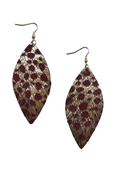 Leopard Print Feather Leather Earrings E3433 - NO.2